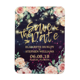 Wedding Save The Date Floral Purple Sparkle Lights Magnet