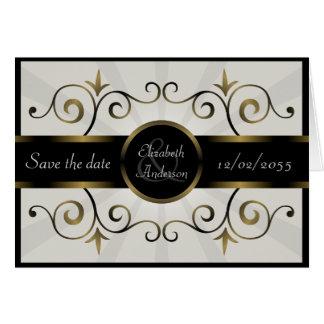 Wedding Save the Date Gold Black Elegant Burst Card