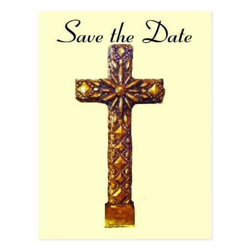 Wedding Save the Date Gold Cross Postcard