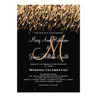 Wedding Save the Date Gold Falling Stars Custom Invites