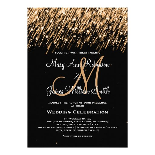"Wedding ""Save the Date"" Gold Falling Stars Custom Invites"