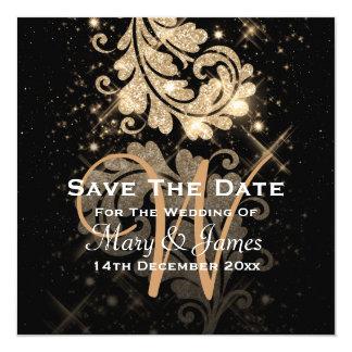 "Wedding Save The Date Gold Glitter Floral Swirl 5.25"" Square Invitation Card"