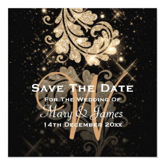 Wedding Save The Date Gold Glitter Floral Swirl Card