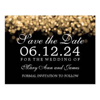Wedding Save The Date Gold Lights Postcard