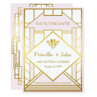 Wedding Save the Date,Great Gatsby,white gold pink Card