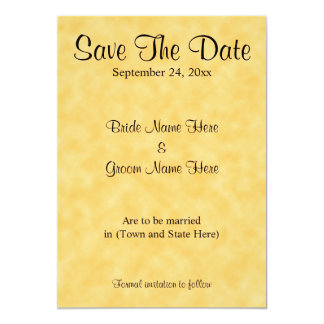 Wedding Save The Date, in Yellow and Black. 5x7 Paper Invitation Card