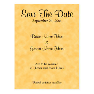 Wedding Save The Date, in Yellow and Black. Postcard