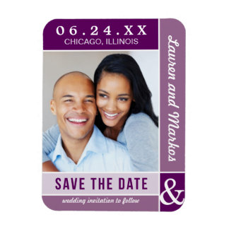 Wedding Save the Date Magnet | Purple Colorblock