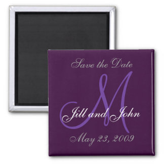 Wedding Save the Date Monogram Purple Magnet