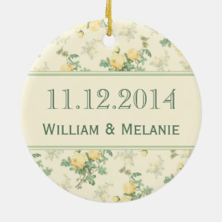 Wedding Save the Date ornament yellow rose