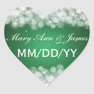 Wedding Save The Date Party Sparkle Emerald Green Heart Sticker