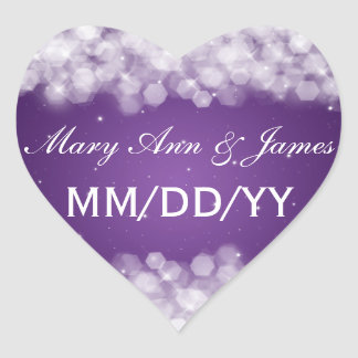 Wedding Save The Date Party Sparkle Purple Heart Sticker