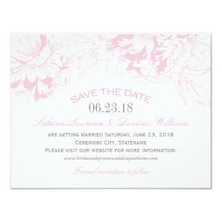 "Wedding Save the Date | Pink Floral Peony Design 4.25"" X 5.5"" Invitation Card"
