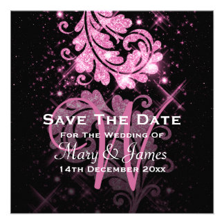Wedding Save The Date Pink Glitter Floral Swirl Custom Invitations