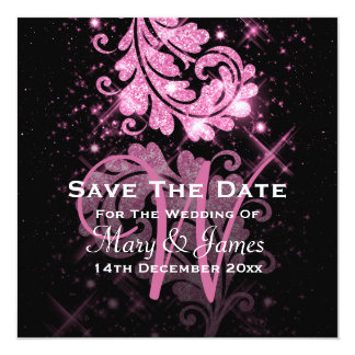 Wedding Save The Date Pink Glitter Floral Swirl 5.25x5.25 Square Paper Invitation Card
