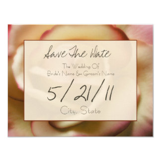 """Wedding Save The Date - Pink & Yellow Rose 4.25"""" X 5.5"""" Invitation Card"""