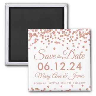 Wedding Save The Date Rose Gold Glitter Confetti Magnet