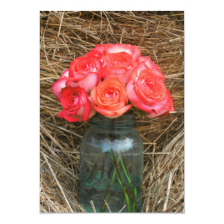 Wedding Save The Date: Roses In A Mason Jar On Hay 5x7 Paper Invitation Card