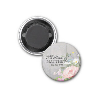Wedding Save the Date Rustic Woodsy Floral Pink Magnet