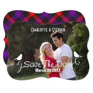 Wedding Save The Date Scottish Tartan Plaid Script Card