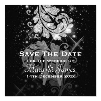 Wedding Save The Date Silver Glitter Floral Swirl Invitations