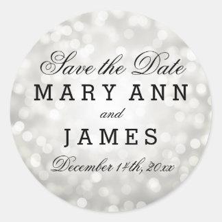 Wedding Save The Date Silver Glitter Lights Round Sticker