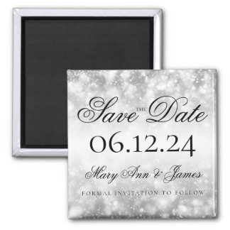 Wedding Save The Date Silver Shimmer Lights Magnet