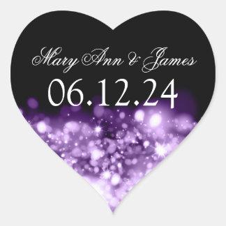 Wedding Save The Date Sparkling Lights Purple Heart Sticker