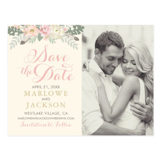Wedding Save the Date | Spring Boho Florals Postcard