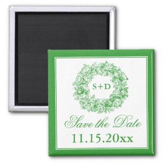 Wedding Save The Date Vintage Floral Monogram Gree Square Magnet