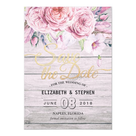 Wedding Save The Date Watercolor Boho Floral Wood Card
