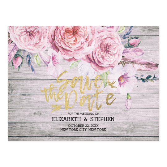 Wedding Save The Date Watercolor Boho Floral Wood Postcard