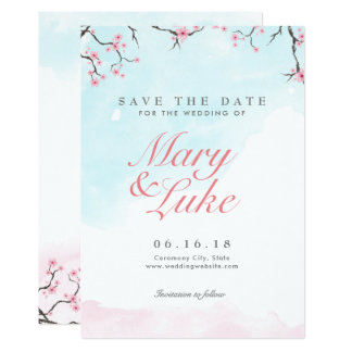 Wedding Save the Date | Watercolor Cherry Blossoms Card