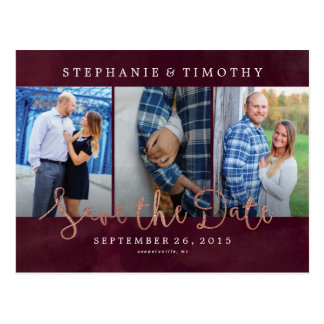 Wedding Save the Date - Wine Red & Rose Gold Postcard