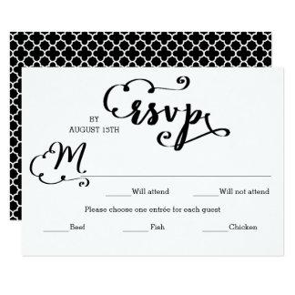 Wedding Script Mosaic Entree - RSVP Card