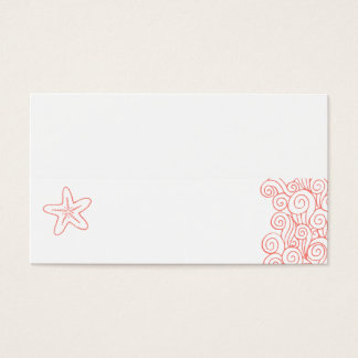 Wedding sea star swirls coral white place cards