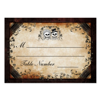Wedding Seating - Brown Gothic Halloween Skeletons Large Business Card