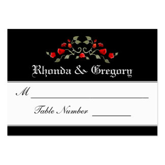Wedding Seating Cards - Black & Red Roses Matching Large Business Card