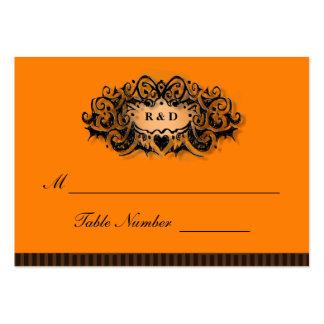 Wedding Seating Cards - Halloween Orange Black Business Card Templates