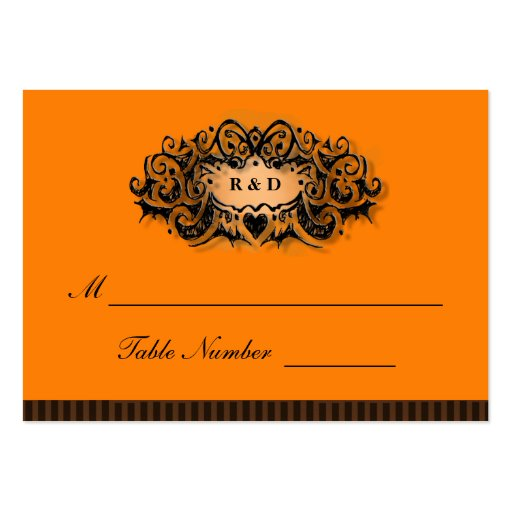 Wedding Seating Cards - Halloween Orange & Black Business Card Templates