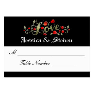Wedding Seating Cards - LOVE Red Roses Matching Large Business Card
