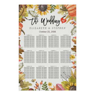Wedding Seating Chart Autumn Maple Leaves Pumpkins
