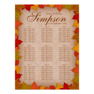 Wedding Seating Chart Beautiful Fall Autumn Leaves Poster