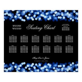 Wedding Seating Chart Blue Hollywood Glam Poster