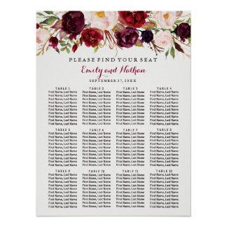 Wedding Seating Chart Burgundy Red Floral