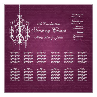 Wedding Seating Chart Chandelier Berry Pink Posters