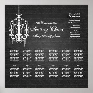Wedding Seating Chart Chandelier Black Print