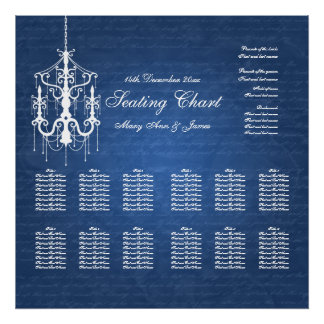 Wedding Seating Chart Chandelier Blue Posters