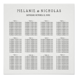 Wedding seating chart, choose color, up to 12 tabl poster
