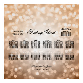 Wedding Seating Chart Copper Glitter Lights Poster